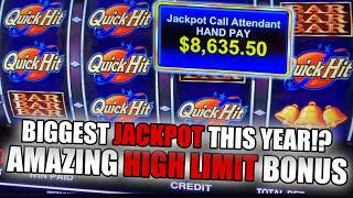 BIGGEST HIGH LIMIT JACKPOT ON YOUTUBE 2021  QUICK HIT PROGRESSIVE WIN  INSANE FREE GAMES!