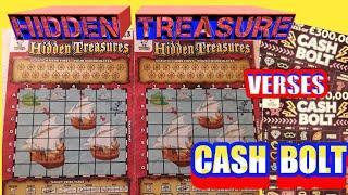 HIDDEN TREASURE Scratchcards..CASH BOLT..Bee Lucky..Flamingo Fortunes..Dough Money &..£500,00 Red..