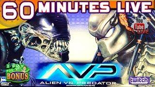 60 MINUTES LIVE  ALIEN VS. PREDATOR  NEW SLOT GAME!