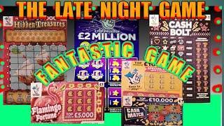"""WOW!..What A Scratchcard Game """"HIDDEN TREASURE"""" £2 MILLION BLUE"""" CASH BOLT""""Flamingo""""Etc. mmmmmmMMM"""