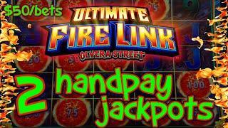 Ultimate Fire Link Olvera Street (2) HANDPAY JACKPOTS HIGH LIMIT $50 Max Bonus Slot Machine Casino