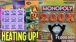HEATING UP!  $80/TICKETS!  $20 Monopoly 200X + Wild Cash Multiplier  TEXAS Lottery Scratch Offs