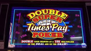 $100 LIVE PLAY on DOUBLE SUPER TIMES PAY VIDEO POKER 5 CENT DENOM MAX BET $3.50 with MULTIPLIERS