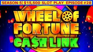 WHEEL OF FORTUNE Cash Link Slot Machine Max Bet Bonuses | SEASON 5 | EPISODE #28