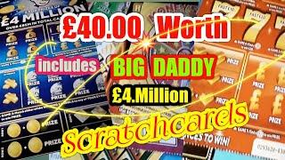 •Wow!•£4 Million Scratchcard •£40,00 worth of cards •includes a•BIG DADDY•classic game•