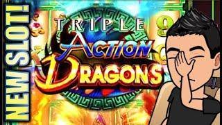 •NEW SLOT! TRIPLE ACTION DRAGONS• LET'S SEE SOME ACTION! Slot Machine Bonus (Ainsworth)