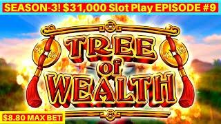 Tree of Wealth Slot Machine $8.80 Max Bet Bonuses & BIG WIN   Season 3   EPISODE #9
