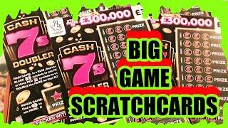 """£200 SCRATCHCARD GAME""""FULL £500s""""CASH 7s DOUBLER""""SPIN £100"""