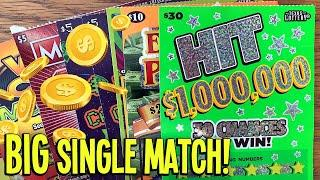 BIG Single Match! $100/TICKETS!  $30 Hit $1,000,000  Space Invaders  TEXAS Lottery Scratch Offs