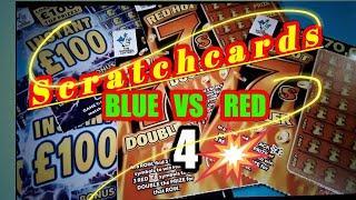 #4 Scratchcard ThursdayBLUE Instant £100sVs REDHOT 7s DOUBLER...with Bonus Bingo Doubler card