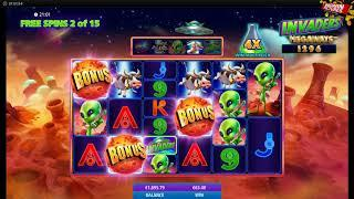 Invaders Megaways - 6 Scatters Free Spins BIG WIN!