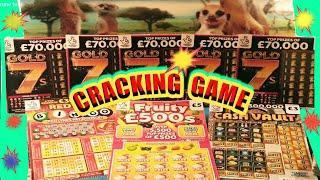 """FANTASTIC GAME SCRATCHCARDS & WINS""""GOLD 7s""""REDHOT BINGO""""FRUITY £500""""CASH VAULT""""SPIN £100"""""""