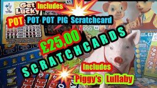 ••Scratchcard.•£25.00 cards•£20,000 Green•Red Hot 7•(Pot.Pot.Pot.Pig classic•)