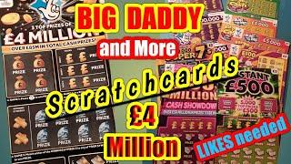 BIG DADDY £4 MILLION£10Scratchcard.and others cards..for Sunday evening gameyour LIKES needed