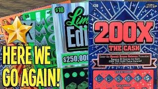 Here We Go AGAIN w/ Back to Back! $20 200X The Cash  $110 TEXAS LOTTERY Scratch Offs