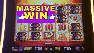 SUPER BIG WIN Buffalo Gold Slot Machine Bonus MASSIVE WIN !!! Huge Win Buffalo Line Hit