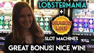Awesome BONUSES Dragon Link and Lobstermania Slot Machines!