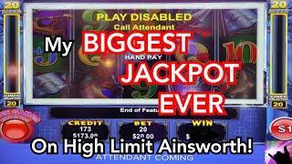 My BIGGEST High Limit Ainsworth Jackpot EVER!  Dream Bonus on Ming Warrior