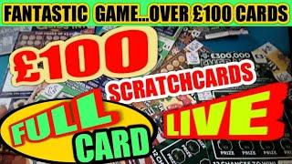"""(FULL CARD)£100  SCRATCHCARDS"""" 3x MONOPOLY""""CHRISTMAS COUNTDOWN"""" WONDERLINES"""" CASH DROP""""MONEY SPINNER"""