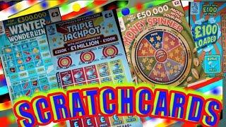 TRIPLE JACKPOT..WONDERLINES..MONEY SPINNER..BINGO..£100 LOADED..£100,000 PINK..WIN £50..5X CASH