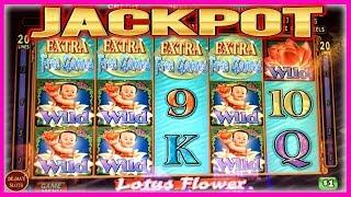 HUGE JACKPOT! INCREDIBLE 4 COIN RETRIGGER! LOTUS FLOWER SLOT MACHINE