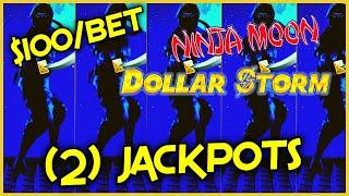 HIGH LIMIT Dollar Storm Ninja Moon (2) HANDPAY JACKPOTS ️$100 Bonus Round Slot Machine Casino