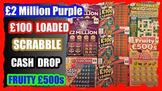 What a CRACKING half hour Scratchcard Game..£2 Million Purple..Fruity £500..£100 Loaded..SCRABBLE
