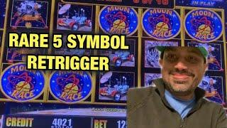 RARE 5 BONUS RETRIGGER WITH A HUGE WIN AT RIVER SPIRIT CASINO!!! MOON RACE LIGHTING LINK SLOT!!