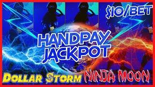 MAJOR HANDPAY JACKPOT on Dollar Storm Ninja Moon Slot Machine (2) $10 Bonus Rounds AWESOME WIN