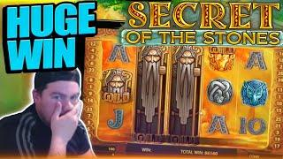 4 SCATTERS!! MASSIVE WIN ON SECRET OF THE STONES!!