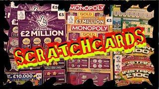 Scratchcards MONOPOLY GOLD...SCRABBLE CASHWORD..£2 MILLION Purple..INSTANT £100..CASH MATCH....