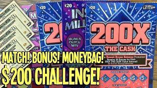 $200 CHALLENGE w/ ONLY $20 Tickets! MATCH! BONUS! MONEYBAG  TX LOTTERY Scratch Offs