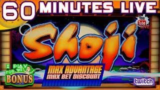 60 MINUTES LIVE  SHOJI  FIRST BLADE GAME!  HIGH LIMIT SLOT PLAY AT THE SLOT MUSEUM