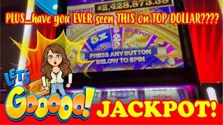 $50 WHEEL OF FORTUNE Gold Spin BIG HANDPAY JACCKPOT - TOP DOLLAR SLOT MACHINE plus $10 DOUBLE GOLD!