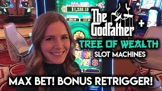 The Godfather Slot Machine MAX BET Free Spins Bonus Re-Trigger! Tree of WEALTH $8.80 MAX BET