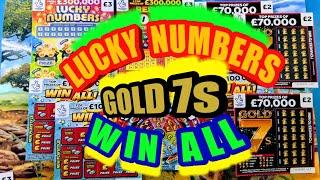 """SUPER SCRATCHCARD GAME..with WINS""""GOLD 7s..REDHOT BINGO""""LUCKY NUMBERS""""WIN ALL""""SPIN £100"""