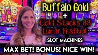 Buffalo GOLD and GOLD Stacks! Lunar Festival! Slot Machine! $8.80/Spin NICE WIN!