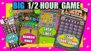 SUPERB..EXCITING  Scratchcard Game(over 1/2 hour)CASH LINES..RAINBOW BINGO..£50M SHOWDOWN.SCRABBLE
