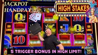 JACKPOT HANDPAY! 5 Trigger BONUS on LIGHTNING LINK: HIGH STAKES!  #jackpothandpay