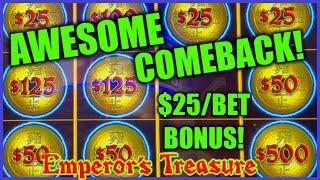 HIGH LIMIT Dollar Storm Emperor's Treasure NICE COMEBACK ️$25 BONUS ROUND Slot Machine Casino
