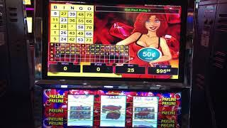 """""""Hot Red Ruby 2"""" VGT Slots RED WIN SPINS Good Bingo Patterns Choctaw Gambling Casino, Durant, OK."""