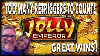 CRAZY RETRIGGERS! GREAT WINS!  JOLLY EMPEROR  GOLD BONANZA
