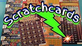 Scratchcards..New £100,000 Multiplier..INSTANT MILLIONAIRE..Mega Cashword.Cash Bolt
