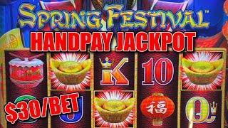 HIGH LIMIT Dragon Link Spring Festival HANDPAY JACKPOT  $30 Spin BONUS ROUND Slot Machine Casino