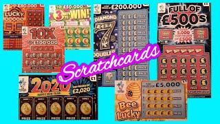 Scratchcards..Diamond 7s Doubler..Full £500..Bee Lucky..2020..Lucky Bonus..and