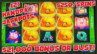 HIGH LIMIT UP TO $250 SPINS on Lock It Link Huff N' Puff (2) JACKPOT HANDPAYS Slot Machine Casino