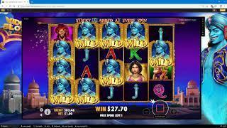 3 Genie Wishes Slot Bonus - Sticky Wilds BIG WIN!!