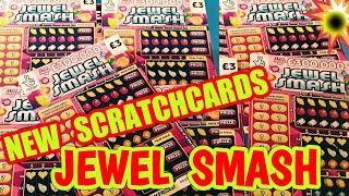 """NEW""""JEWEL SMASH""""SCRATCHCARDS..WE GIVE """"EM"""" A GO..also GOLD 7s..CASHWORD""""CASH 7s DOUBLER"""
