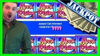 MASSIVE SLOT MACHINE JACKPOT! Hitting in BIG on Moon Rising Slot Machine - Slot Machine Bonus