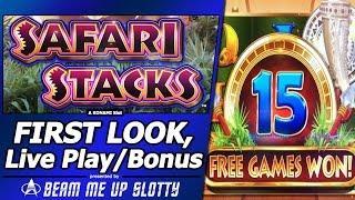 Safari Stacks Slot - First Look, Live Play and Nice Free Spins Bonus in New Konami game